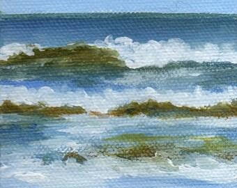 Mini Painting Seascape, Landscape Painting Original Small Acrylic Painting of Beach Scene