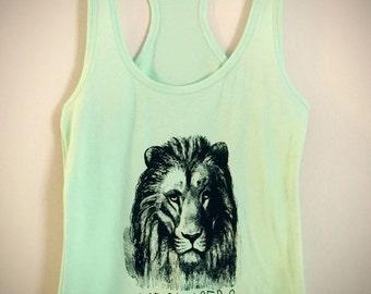 Womens Tank top, Yoga, Hand Screen printed, Lion, Cat, Meowsers