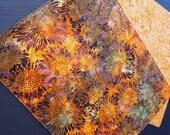 Batik Sunflower Placemats - Autumn Placemats - Fall Placemats - Orange Placemats - Green Placemats - Reversible Thanksgiving Placemats