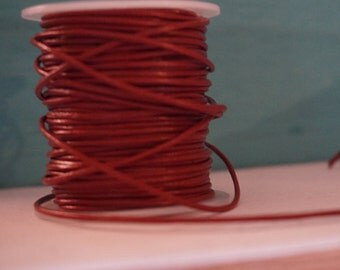 1mm Sienna Red Round Leather Cord 2 yards