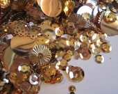 vintage sequin and spangle mix - 1/2 CUP - GOLD sequins, cup sequins, spangles, assorted colors