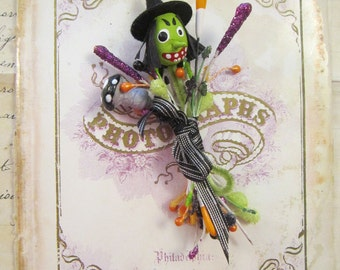 halloween stamen bundle with spun cotton WITCH and mushroom - handmade, vintage inspired
