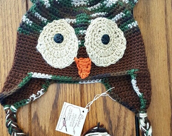 Crocheted Owl Hat for Babys kids Photo Prop ~ Free Shipping