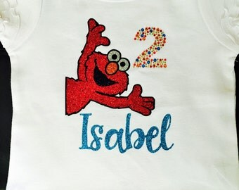Elmo Birthday Shirt- Glitter Vinyl and Rhinestones and Personalized with Child's Name for Girls