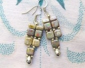 Peacock and picasso tile earrings