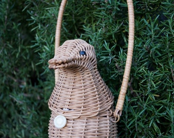 Vintage 60s Wicker Duck Purse / Rare Wicker Duck Handbag / Collectible Figural Wicker Handbag Petite Size / Rare Novelty Duck Bag