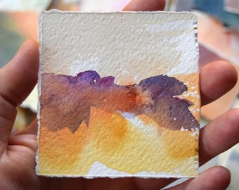 Original Watercolor Painting Yellow and Purple Abstract