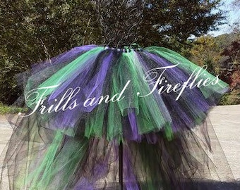 Witch Tutu in Black, Purple & Green with Attached Train Great for Costume Parties, Halloween, ...MANY COLORS AVAILABLE..Baby to Adult Sizes