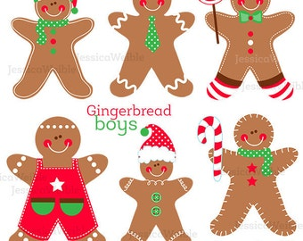 Gingerbread Boys Cute Digital Clipart - Gingerbread Cilp art, Christmas Graphics, Christmas Clipart, Gingerbread Characters, Cookies