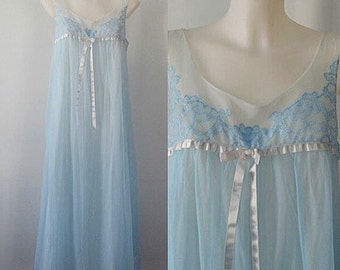 Vintage Blue Chiffon Nightgown, Vanity Fair, Vintage Chiffon Nightgown, Romantic, Wedding, Chiffon Nightgown, Nightgowns
