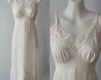 Vintage Slip, Vintage Slips, Vintage 1940s Slips, 1940s Slips, Canadian Maid,Toronto Petticoat, Full Ivory Slip, Full Slip