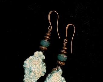 Blue Raku Dangle Earrings