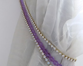 1 mt long lilac crystals tiebacks with white opale rhinestones