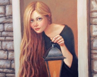 Rapunzel in the Tower. Signed Print of an Original Oil Painting
