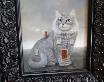 Cathouse. Original Surreal Oil Painting