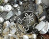 Moon Garden    Viintage French Rhinestone Flower Gemstone Pearl Necklace