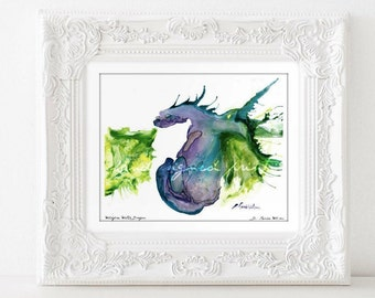 Watercolor Print Dragon Art Print Birthday Gifts for Him Housewarming gifts for Him Mythical Creatures Easter Gift for Teen Magical Gifts
