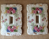Vintage Porcelain light switch cover switch plate Floral Victorian