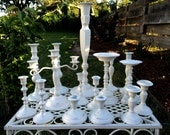 SALE Wedding Candlestick Collection Candle Holders Candelabra Pillar Heirloom White