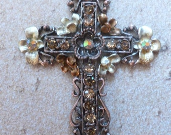 Cross Magnet With Flowers
