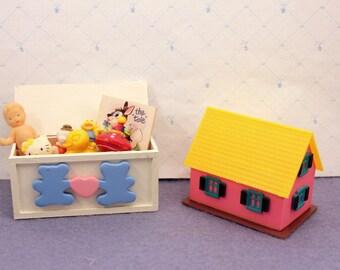 Miniature Dollhouse Toy Box Toys Playroom Nursery Decor Tiny Dolls House