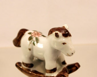Miniature Rocking Horse Porcelain Figurine Pink Flower on Back