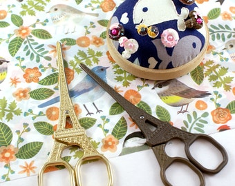 """Eiffel Tower 5.5"""" embroidery scissors - Paris France eiffel tower small sewing scissors - for cross stitching, needlework, quilting"""