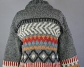 Vintage 90s Women's Chunky Knit Navajo Tribal Geo Pattern Speckled Fall Winter Southwest Cardigan Sweater