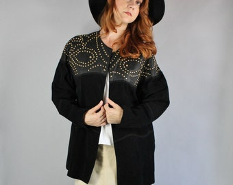 Vintage 80s Women's Rustic Fashion Modern Prairie Black Suede Leather Gold Studded Southwest Fall Winter Boho Rock n Roll Coat Jacket