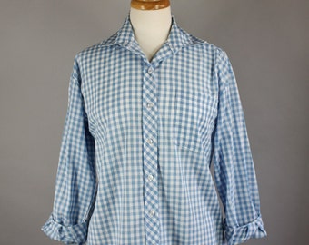 Vintage 70s Women's Pastel Blue White Gingham Button Down Long Sleeved Spring Summer Blouse Shirt
