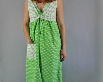 Vintage 60s Women's Bright Neon Green Mod Tiki Party White Polka Dots Cotton Summer Beach Pool Coverup Dress // Day Dress