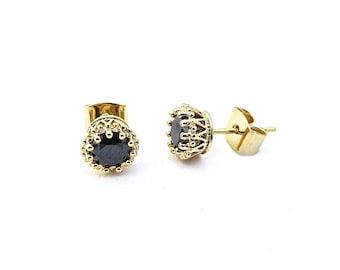 Black Stud Earrings, Crystal Stud Earrings, Earrings Studs, Simple Earring, Gold Earrings, Minimalist Earrings, Gold Jewellery, Womens Gift