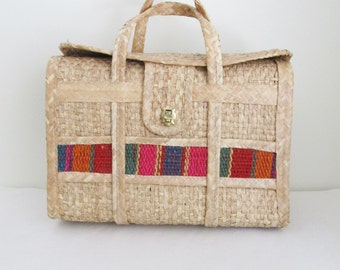 Vintage 1970's Straw Beach Handbag Tote / Large Style Mexico Summer Vacation Luggage Bag
