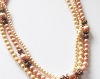 Vintage 1950's Beaded Necklace / Layered Creamy-Ivory & Mauve Pink Faux Pearl Choker Necklace Bridal Wedding