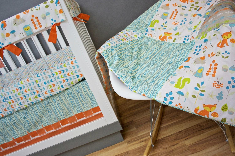 Orange owl crib bedding -  Zoom