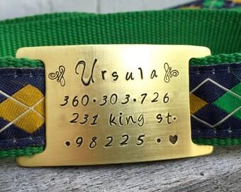 Custom Collar ID Slide  - Quiet Pet ID Tag - LARGE - in Brass, Aluminum or Copper