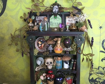 Layaway Available Dollhouse Miniature Witch Herb Cabinet