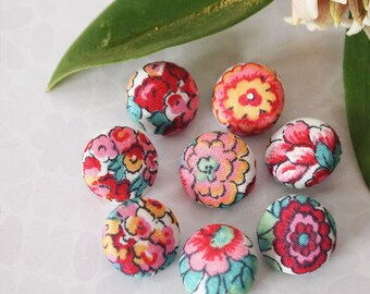 8 Sewing Buttons Covered In Liberty of London Floral Fabric  Size 12mm (half inch) Red Pink Green - (set 1a)