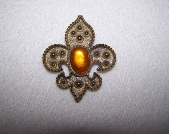 Gold Fleur Di Lys Rhinestone Cabachon Brooch