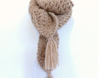 Chunky Knit Scarf , Chunky Scarf , Light Brown Scarf ,  Long Beige Brown scarf
