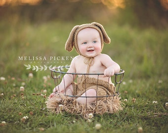 Baby Bunny Sitter Set - Taupe Newborn Bunny Set - Bonnet and Diaper Cover with Pom Pom tail - Bunny Photo Prop - Sitter Set - Easter Neutral