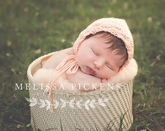 Baby Bonnet Peach Basketweave- Newborn Bonnet Natural Pink - Baby Girl Hat - Newborn Girl Hat - Newborn Photography Prop - Crochet Baby Hat