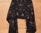 Vintage Black Wool Floral Embroidery Shawl / Wrap With Fringe Detail