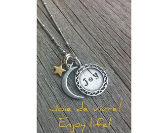 Moon and Star Necklace Personalized Jewelry, Love You To Infinity and Beyond Necklace 925 Sterling Silver