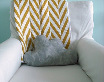 Modern Geometric Baby Quilt in mustard yellow herringbone for Boy or Girl – Ready to ship