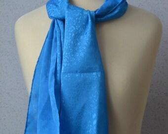 Long Vintage Scarf: Sky Blue, Lace, Sheer, Burnout