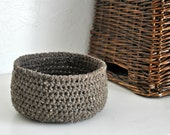 Small Rustic Brown Basket  Catchall Storage Bin Modern Decor Contemporary Design Home Decor