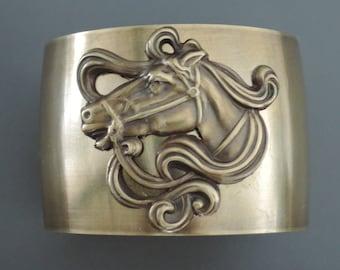 Art Nouveau Bracelet - Cuff Bracelet - Horse jewelry - Vintage Bracelet - Brass Jewelry - Statement Bracelet - Boho Bracelet - handmade