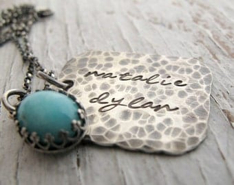 Handstamped Jewelry, Rustic, Mother's Necklace, Personalized Jewelry, Hand Stamped Tag, Hammered
