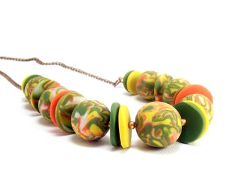Polymer Clay Jewelry Necklac, Retro Necklace, 1970s Colors, Gift for Her, Beaded Jewelry, Autum Jewelry, Handmade Polymer Clay Jewelry,
